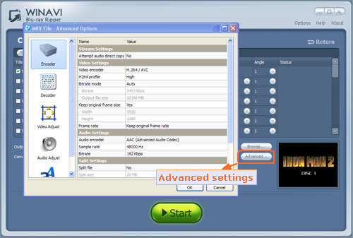 Advanced settings for converting bluray to mkv - screenshot
