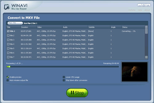 Convert bluray to mkv with WinAVI Blu-ray ripper - screenshot