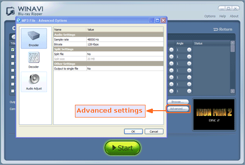 advanced settings for converting bluray to mp3 - screenshot