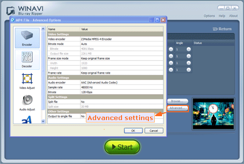 bluray to mp4 conversion advanced setting - screenshot