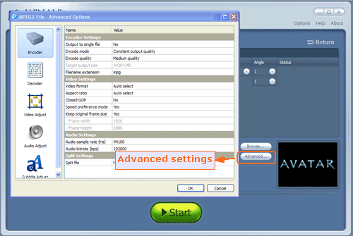 advanced settings for ripping and converting bluray to mpeg2 - screenshot