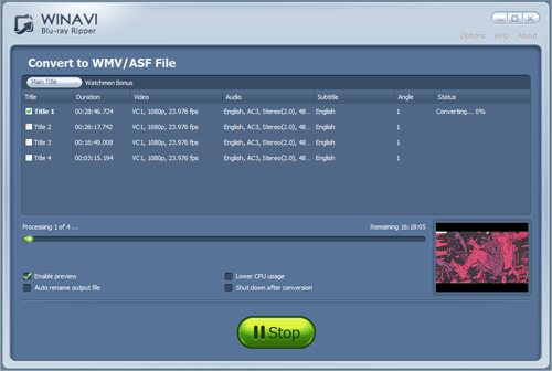 convert bluray to wmv - screenshot