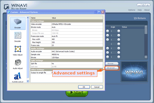 adanced settings for ripping bluray to archos - screenshot