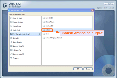 Input bluray and rip bluray to archos - screenshot
