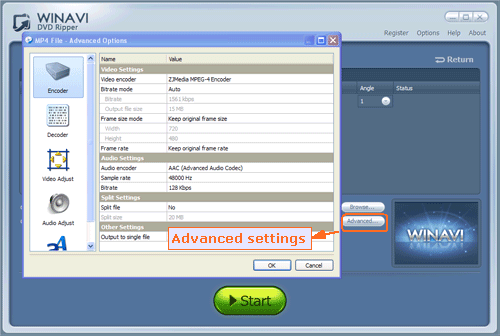 Do advanced setting for ripping DVD to MP4 format - screenshot