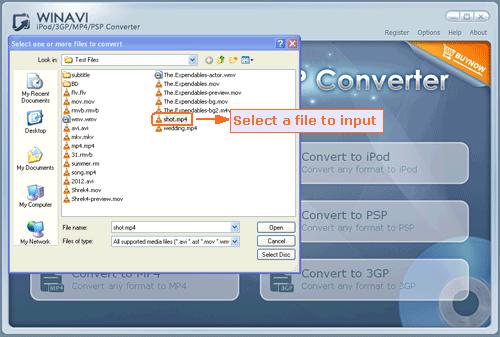 Select video fiels to convert to 3gp with WinAVI 3GP converter - screenshot