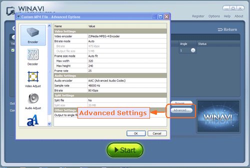 Set advanced settings for DVD to MP4 conversion