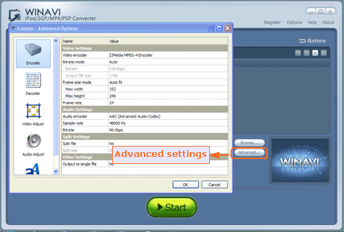 advanced settings for mpeg to ipod conversion