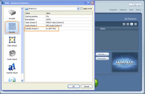 detail settings on decoder menu - screenshot