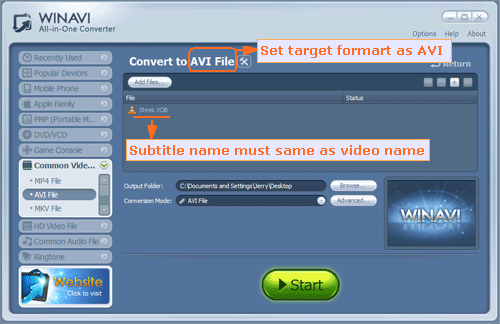 How to add subtitles to avi video with winavi all in one converter