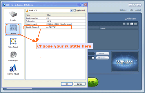 choose wanted subtitles on decoder menu - screenshot