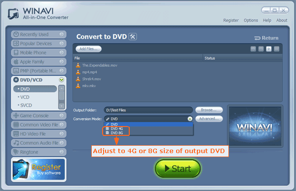 choose DVD 4G or 8G to convert directly