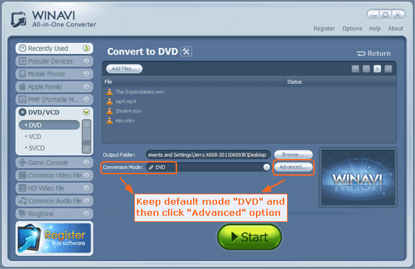keep the default coversion mode 'DVD'