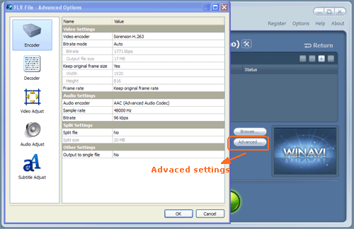Do advanced settings for avi to flv conversion - screenshot