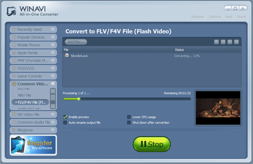 convert avi to flv and program switch to converting interface -screenshot