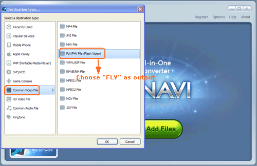 Load avi file to convert avi to flv format -screenshot