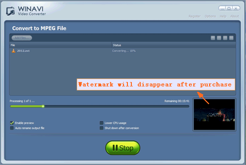convert avi to mpeg - screenshot