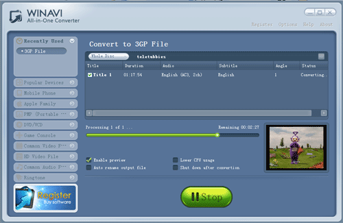 convert dvd to 3gp with WinAVI All-In-One converter - screenshot