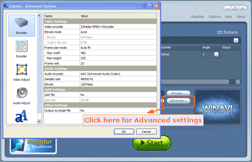 advanced settings for DVD to Archos conversion - screenshot.