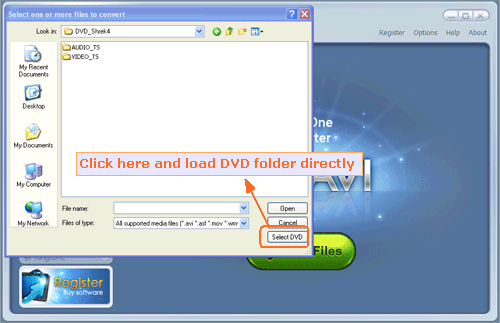 select DVD folder to input and convert to archos - screenshot