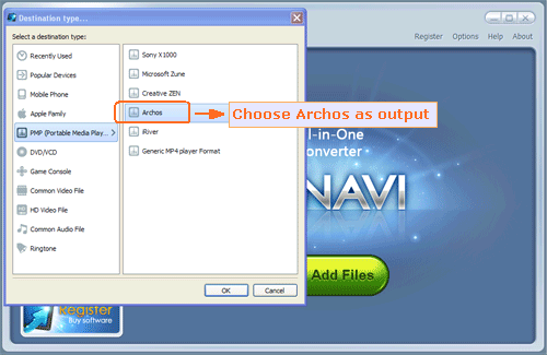 Choose Archos as output for DVD to Archos conversion - screenshot