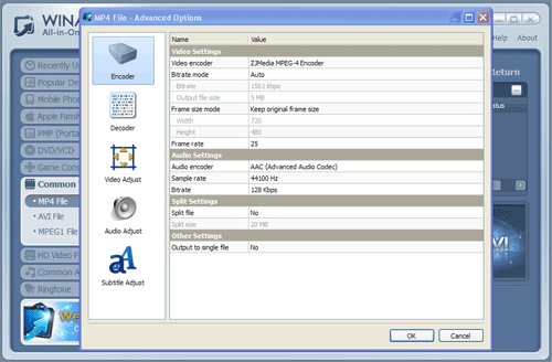 WinAVI All-In-One converter dvd to mp4 conversion advanced - screenshot