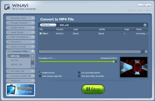 WinAVI All-In-One converter convert dvd to mp4 - screenshot