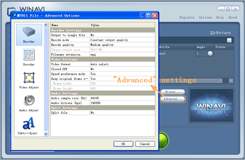 dvd to mpeg2 conversion advanced settings - screenshot