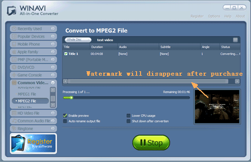 convert dvd to mpeg2 with WinAVI All In One converter - screenshot