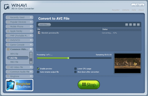 converting flv to avi with WinAVI All In One Converter -screenshot