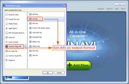 Input Flash FLV file and convert FLV to AVI format -screenshot