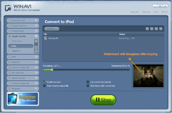 WinAVI All-In-One Video convert flv to iPod - screenshot