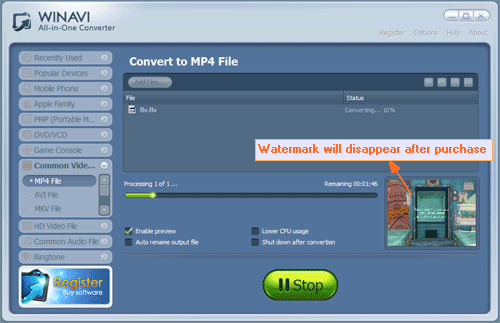 converting flv to mp4 with WinAVI All In One Converter -screenshot