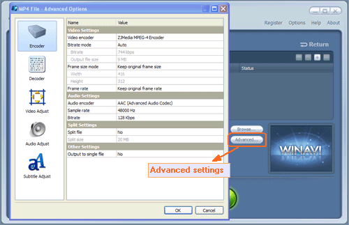 Do advanced settings for flv to mp4 conversion - screenshot