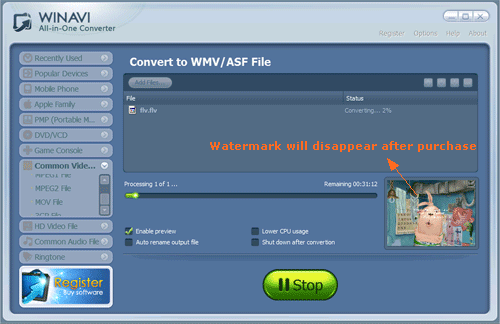converting flv to wmv with WinAVI All In One Converter -screenshot