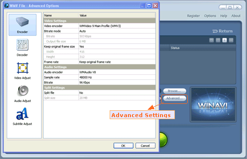 Do advanced settings for flv to wmv conversion - screenshot