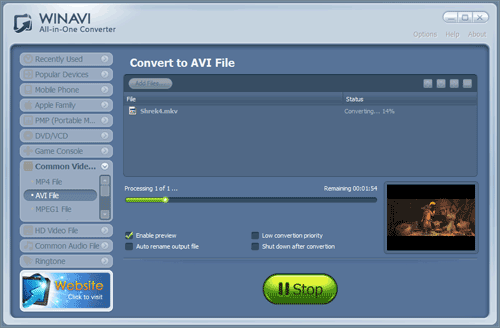 WinAVI All-In-One Video convert mkv to avi - screenshot