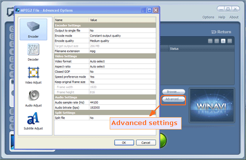 mov converter advanced settings - screenshot