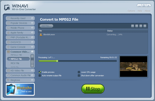 convert mov file with rm converter - screenshot