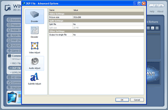 WinAVI All-In-One Video mov to 3gp conversion advanced setting - screenshot