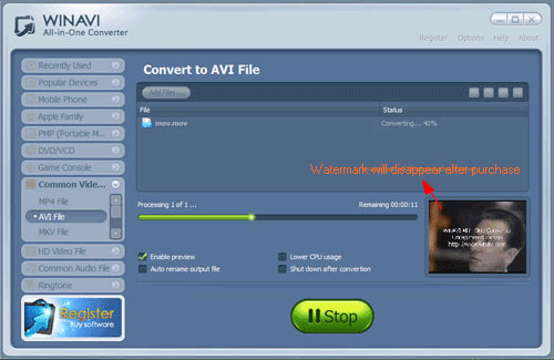 WinAVI All-In-One Video convert mov to avi - screenshot