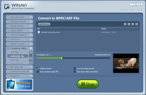 WinAVI All-In-One Video convert mov to wmv - screenshot
