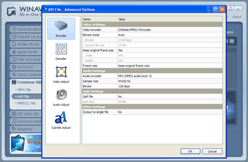 WinAVI All-In-One Video mp4 to avi conversion advanced setting - screenshot