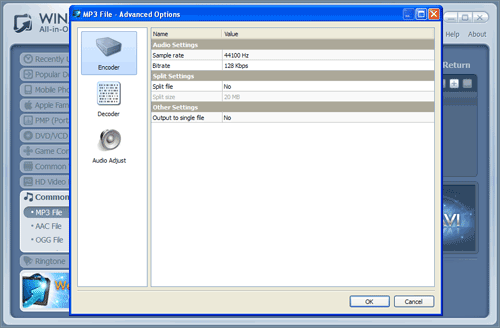 WinAVI All-In-One mp4 to mp3 conversion advanced - screenshot