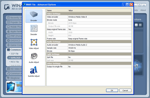 WinAVI All-In-One covnerter mp4 to wmv conversion advanced settings - screenshot