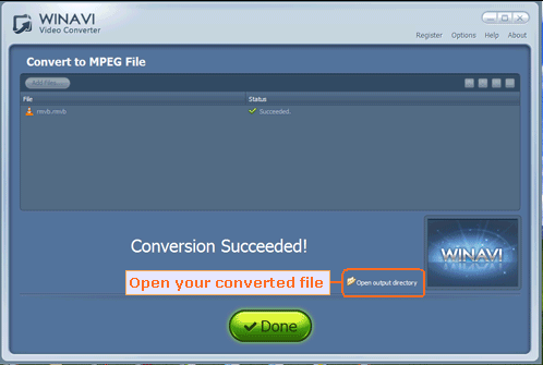 open output directory and find your converted file - screenshot
