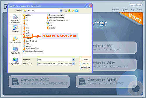 choose your selected rmvb file to import program - screenshot