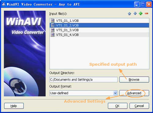 Input vob files to convert vob to avi with WinAVi Video Converter - screenshot