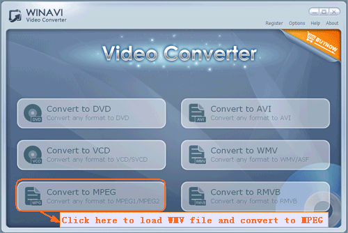 wmv converter interface - screenshot