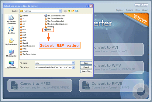 choose your selected wmv file to input program - screenshot